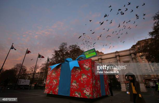 A giant Christmas present is covered in iconic Cath Kidston print at Marble Arch to celebrate the opening of the largest Cath Kidston store in the...