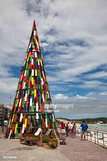 Giant colorful plastic Christmas tree