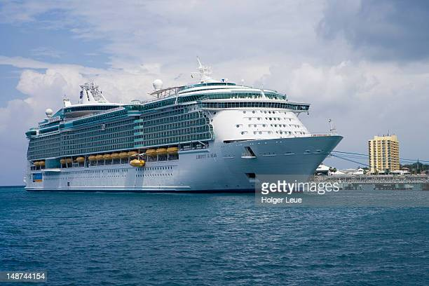 Giant cruiseship Liberty of the Seas (Royal Caribbean International Cruises) at pier.