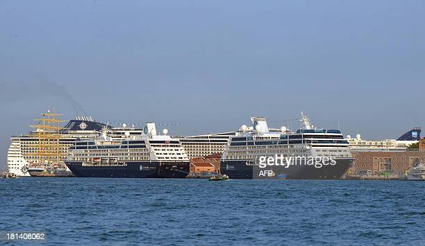 Giant cruiseships dock in Venice on September 21 2013 The 'No Big Ships' comittee is to stage a canalbank protest on September 21 ver an invasion of...