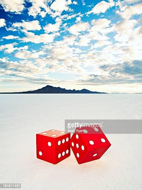 Giant dice on salt flats.