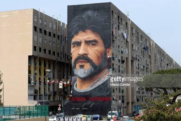 Giant Diego Armando Maradona murals in the popular neighborhood of San Giovanni a Teduccio painted by the artist Jorit
