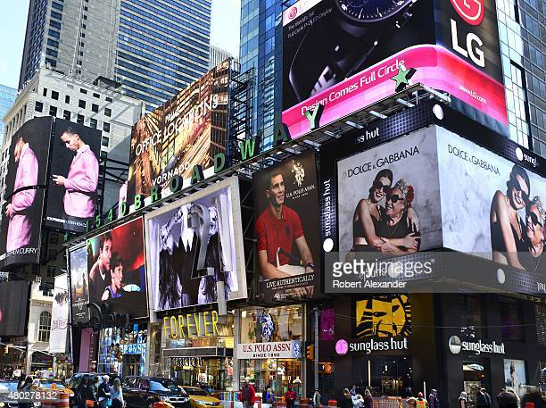 Giant digital screens and advertising billboards light up Times Square in TMidtown Manhattan in New York New York