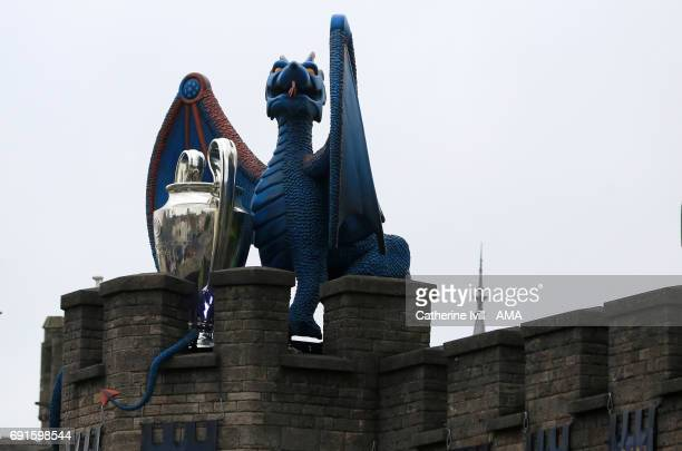 A giant dragon and UEFA Champions League trophy sit on Cardiff Castle prior to the UEFA Champions League Final between Juventus and Real Madrid on...