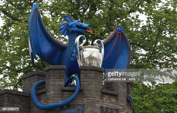 A giant dragon holding the UEFA Champions League trophy at Cardiff castle prior to the UEFA Champions League Final between Juventus and Real Madrid...
