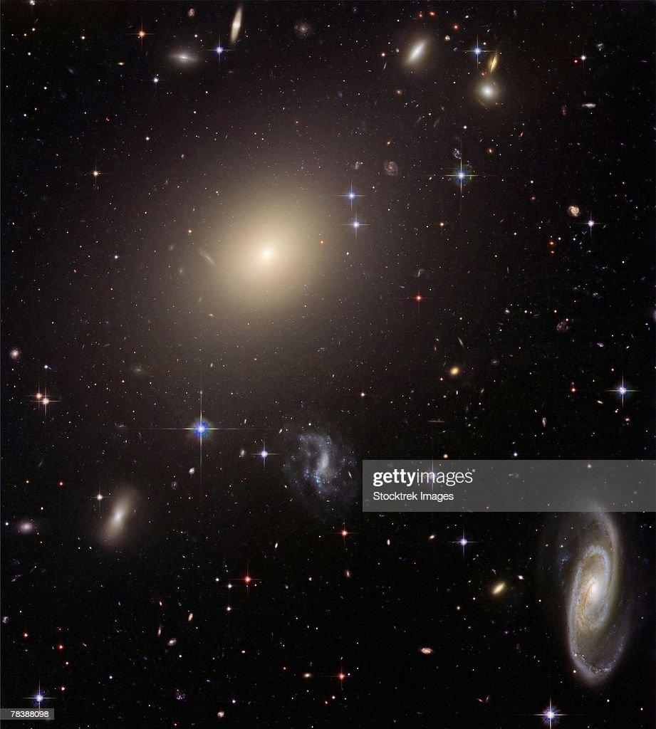 Giant Elliptical Galaxy and its Host Galaxy Cluster