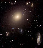 Giant Elliptical Galaxy and its Host Galaxy Cluster.  This NASA Hubble Space Telescope image shows the diverse collection of galaxies in a galaxy cluster called Abell S0740, located more than 450 mill