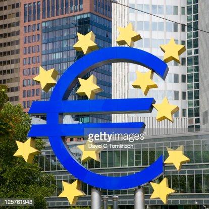 Giant euro sign, Frankfurt am Main, Germany : Stock Photo