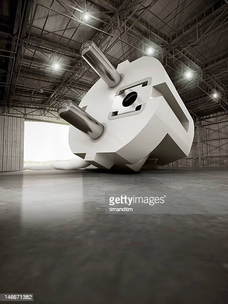 Giant european plug in a hangar
