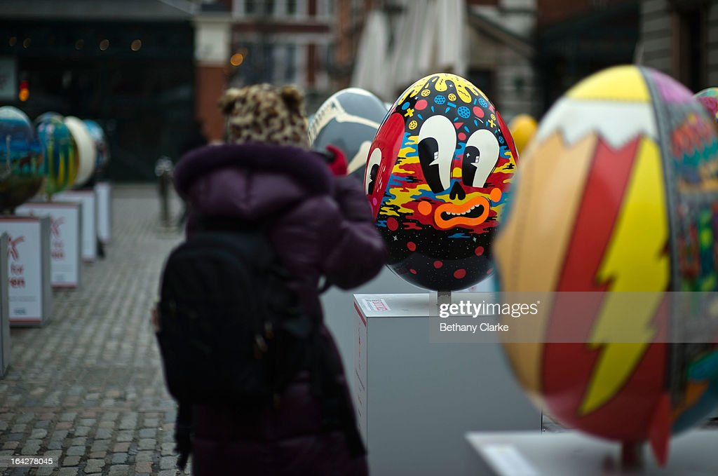 A giant fibreglass easter egg called 'Hello Cheeky' by Hattie Stewart is displayed in Covent Garden before the Big Egg Hunt on March 22, 2013 in London, England. Each egg is two and a half feet tall and designed by a leading artist.