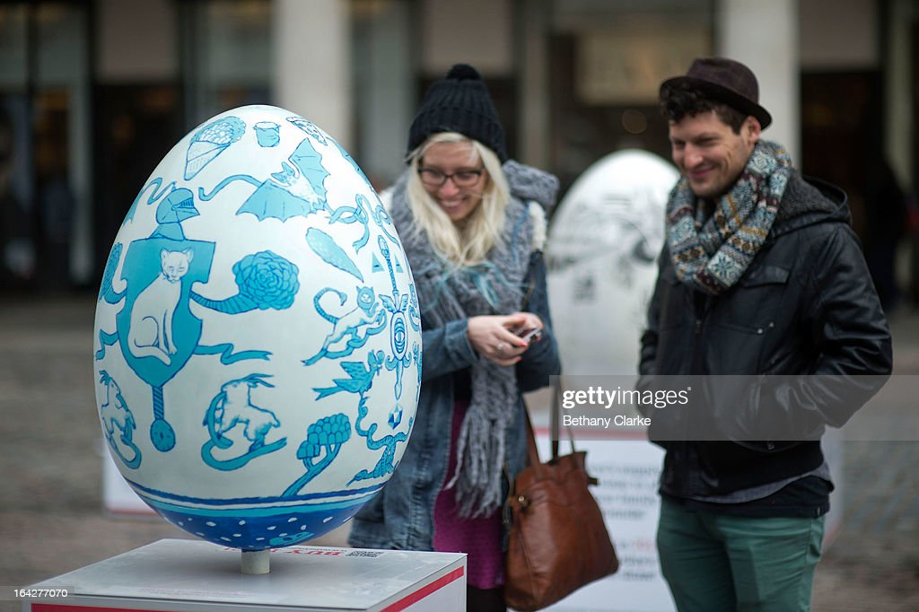A giant fibreglass easter egg called 'The Explorers' by Luke Best on display in Covent Garden before the Big Egg Hunt on March 22, 2013 in London, England. Each egg is two and a half feet tall and designed by a leading artist.