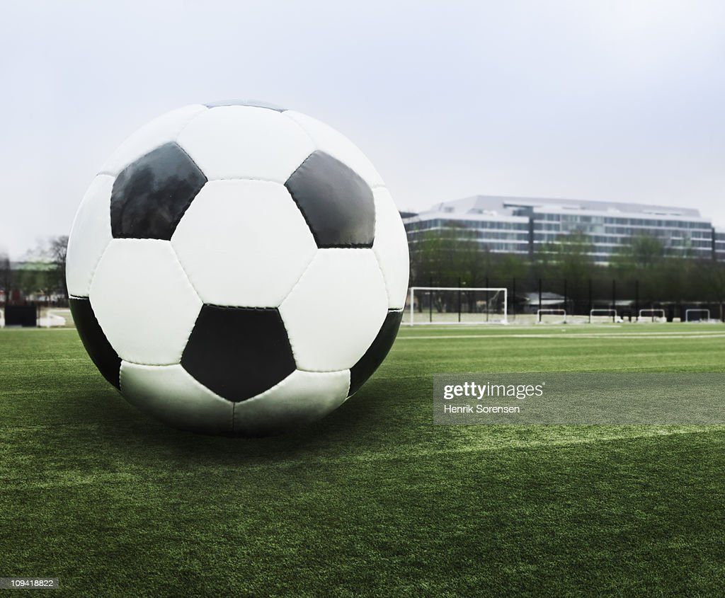 Giant football on an outdoor pitch