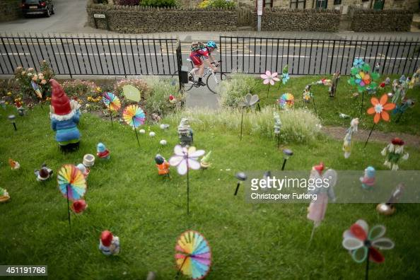 Giant gnomes and garden ornaments decorate the garden of a house on route two as Yorkshire prepares to host the Tour de France Grand Depart on June...