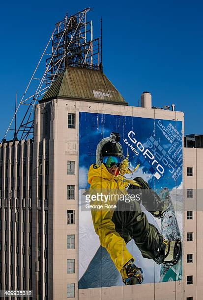 A giant GoPro billboard adorns the side of a building on Hollywood Boulevard on March 23 2015 in Hollywood California Millions of tourists flock to...