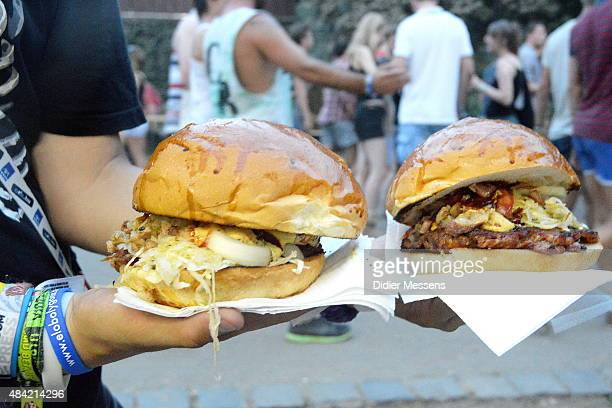 Giant hamburgers served at the food stands at Sziget festival at Obudai Island on August 15 2015 in Budapest Hungary