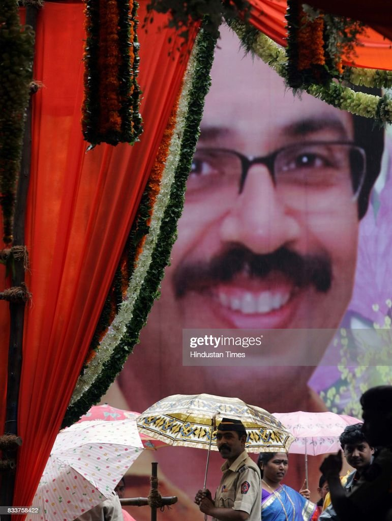 Giant hoarding of Uddhav Thackeray put up by his well wishers for his 48th birthday outside his residence on Sunday.