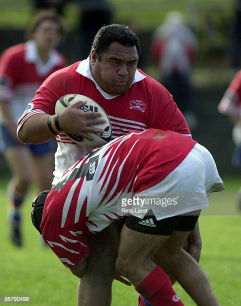 Giant HorowhenuaKapiti winger Laiga Lokeni is caught by Poverty Bay centre Willie Lardelli during the Air New Zealand NPC third division rugby match...