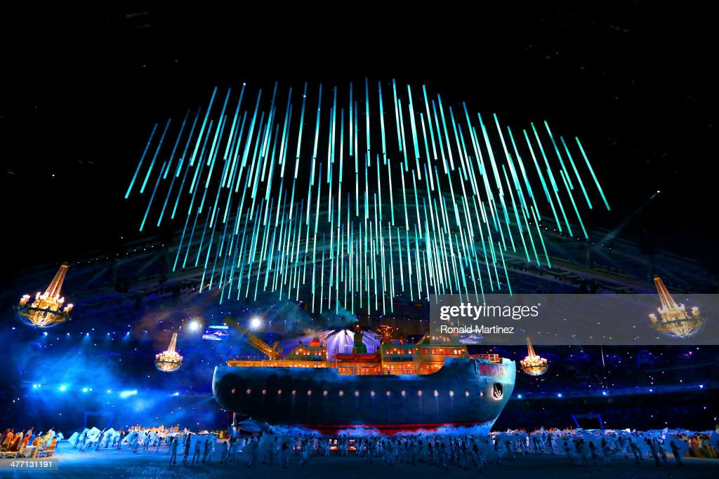 A giant ice breaker ship enters the arena carrying russian soprano Maria Guleghina during the Opening Ceremony of the Sochi 2014 Paralympic Winter...