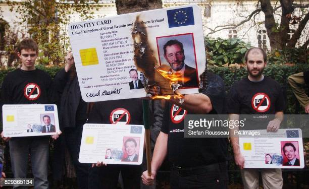 A giant 'ID' card bearing the Home Secretary David Blunkett's face was set alight by protesters opposed to the Government's compulsory identity card...