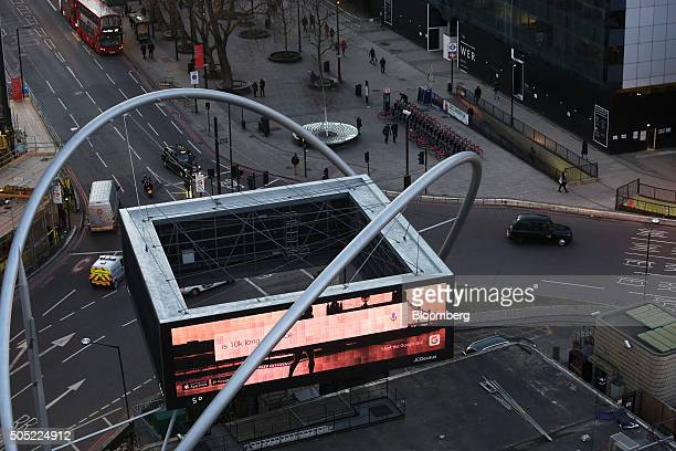 A giant illuminated advertising board stands on the Old Street roundabout also referred to as 'Silicon Roundabout' in the area known as 'Tech City'...