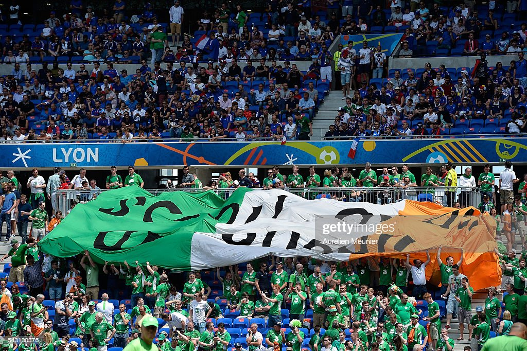 A giant Irish flag can be seen before the UEFA Euro 2016 round 16 game between France and Republic of Ireland at Stade des Lumieres on June 26, 2016 in Lyon, France.