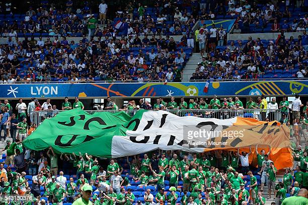 A giant Irish flag can be seen before the UEFA Euro 2016 round 16 game between France and Republic of Ireland at Stade des Lumieres on June 26 2016...