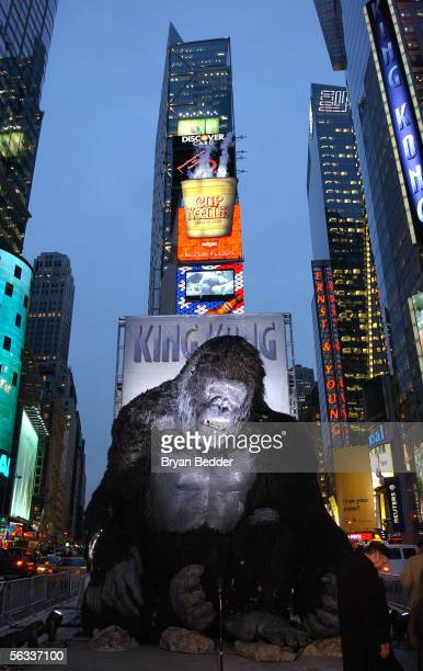 A giant King Kong figure is photographed at a photocall for the Universal Pictures film premiere of 'King Kong' in Times Square December 5 2005 in...