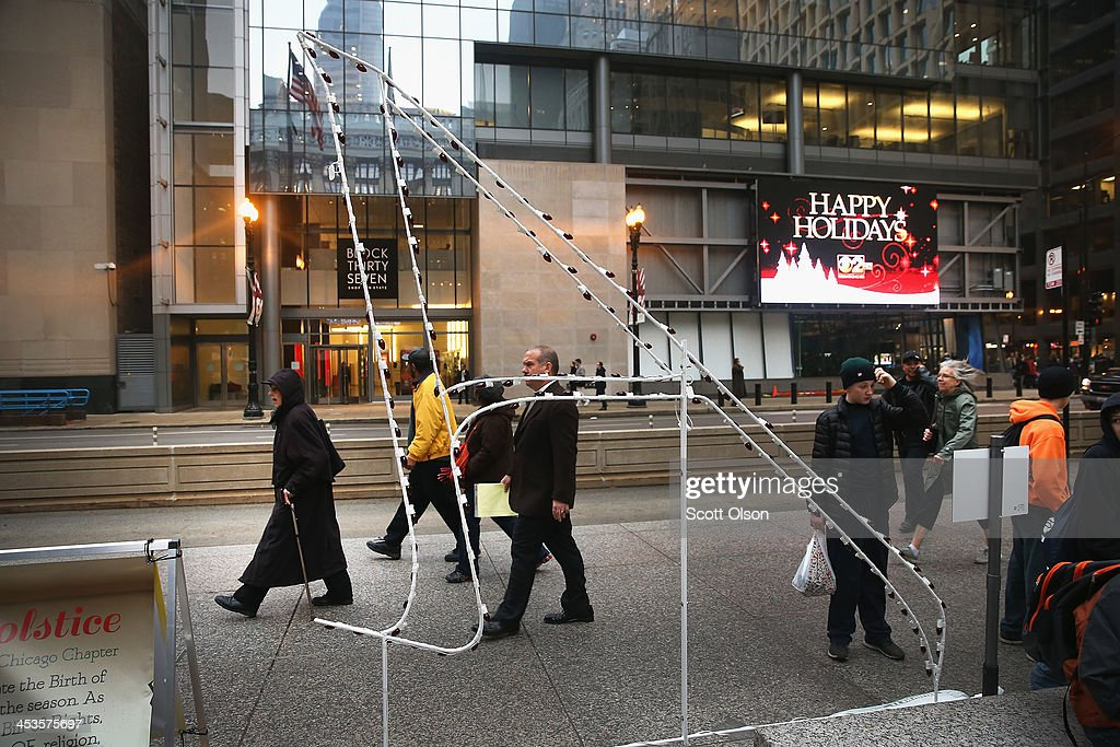 A giant letter 'A' representing the atheist and agnostic community sits in Daley Plaza on December 4 2013 in Chicago Illinois The plaza is also home...