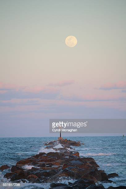 Giant Moon above Jetty
