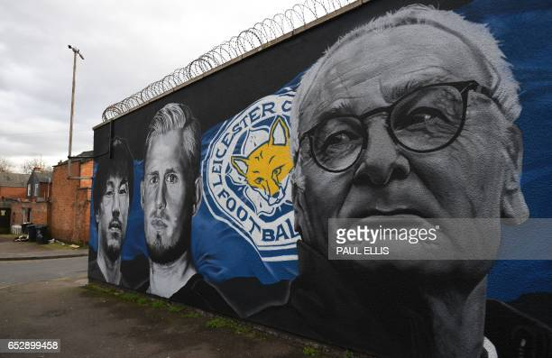 A giant mural created by artist Richard Wilson depicts Leicester City's former Italian manager Claudio Ranieri Leicester City's Japanese striker...