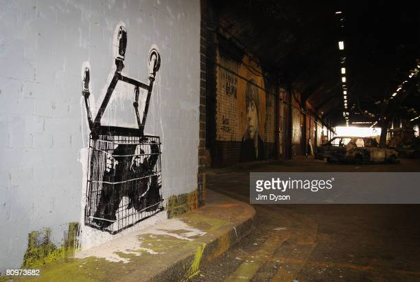 A giant new exhibition space created by famed graffiti artist Banksy opens to the public on May 3 2008 in London England The disused tunnel beneath...
