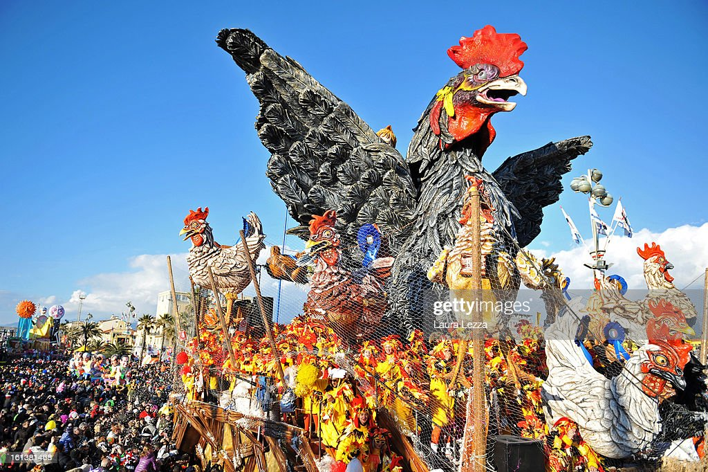 A giant paper mache float moves through the streets of Viareggio during the second traditional Carnival parade, on February 10, 2013 in Viareggio, Italy. The Carnival of Viareggio is considered one of the most important carnivals in Italy and is characterised by its giant paper-mache floats representing caricatures of popular characters, politicians and fictional creations.