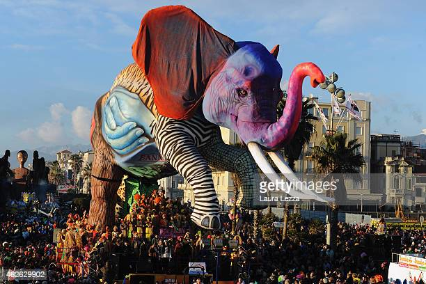 A giant papiermache float of an elephant moves through the streets of Viareggio during the traditional Carnival of Viareggio parade on February 1...
