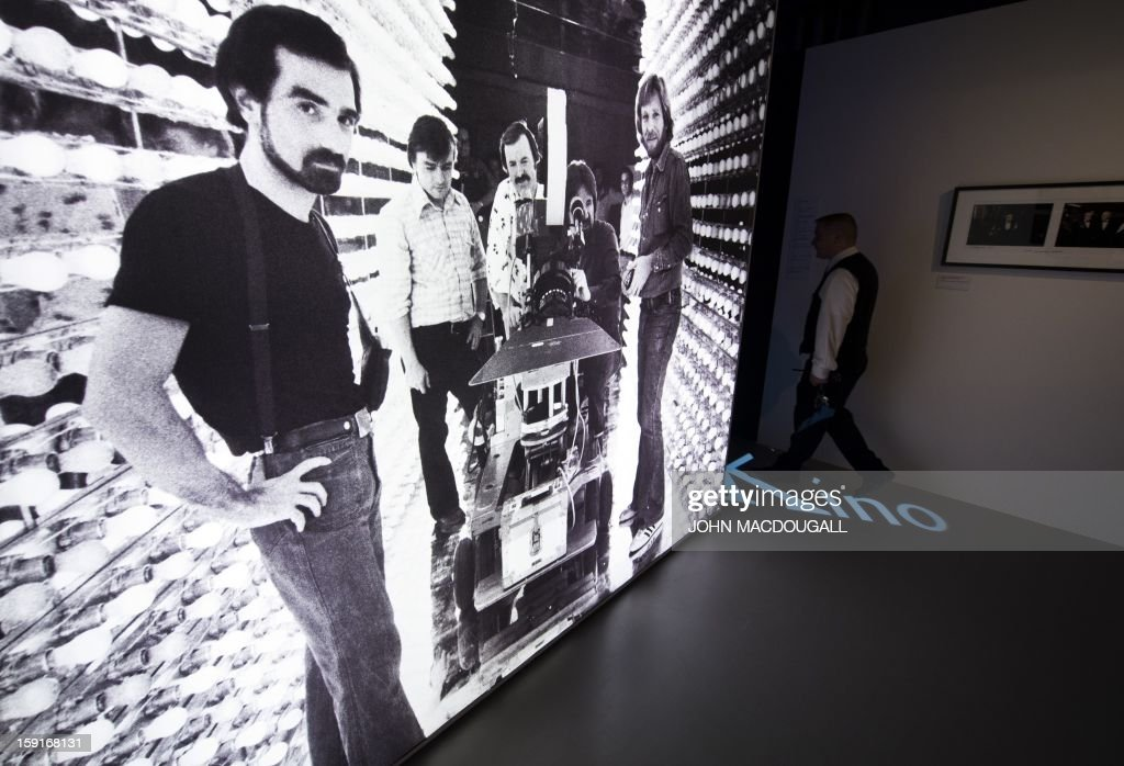 A giant photograph showing US director Martin Scorsese (L) working on his film 'New York, New York' (1977) is on display at the Martin Scorsese exhibition at the Deutsche Kinemathek, Museum for Film and Television in Berlin, Germany on January 9, 2013. The museum opens from January 10 to May 12, 2013 what it calls the first exhibition worldwide dedicated to the work of veteran US film-maker Martin Scorsese, who made his vast archive available for the show. A