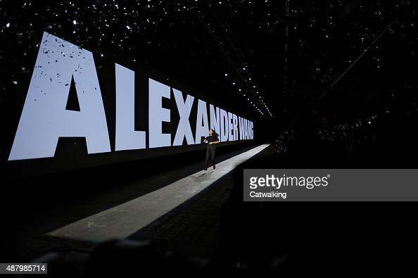 Giant plasma screens with AV projections on the runway at the Alexander Wang Spring Summer 2016 fashion show during New York Fashion Week on...
