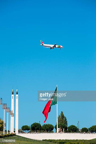 Giant Portuguese flag and TAP Airbus