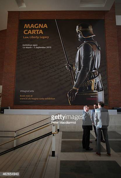 A giant poster at The British Library heralds the opening of their Magna Carta exhibition on February 2 2015 in London England Magna Carta one of the...