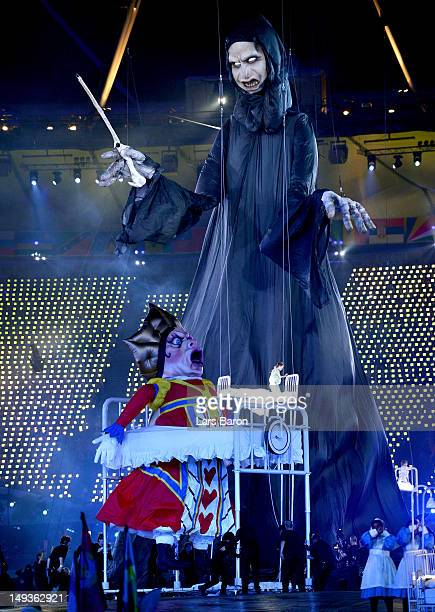 Giant puppets depict villainous characters from British literature during the Opening Ceremony of the London 2012 Olympic Games at the Olympic...