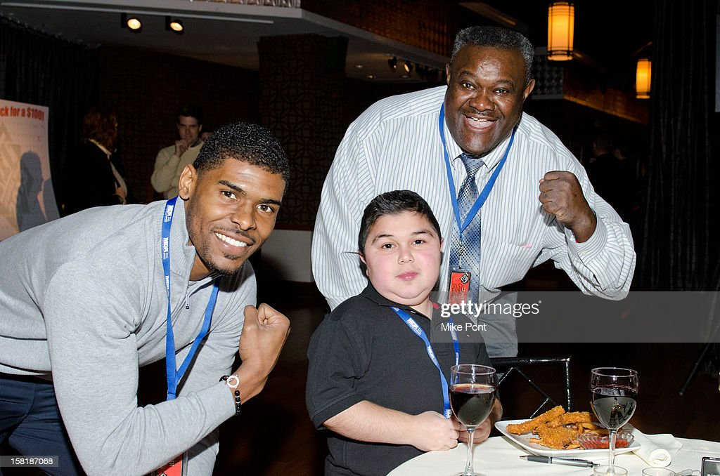 NY Giant <a gi-track='captionPersonalityLinkClicked' href=/galleries/search?phrase=Ramses+Barden&family=editorial&specificpeople=5616359 ng-click='$event.stopPropagation()'>Ramses Barden</a> (L) and Gregory Murphy (R) attend MDA's 2013 Muscle Team Kick Off Event at The Lighthouse at Chelsea Piers on December 10, 2012 in New York City.