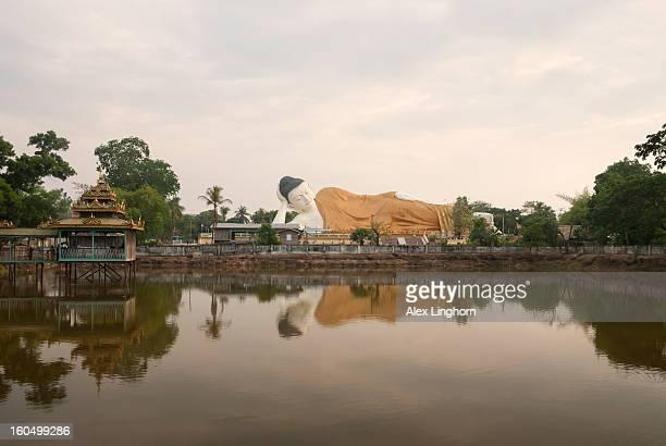 Giant reclining Buddha statue, Bago, Myanmar.
