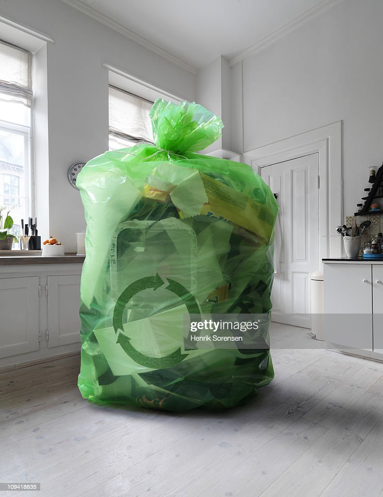 Giant recycling sack in the middle of kitchen