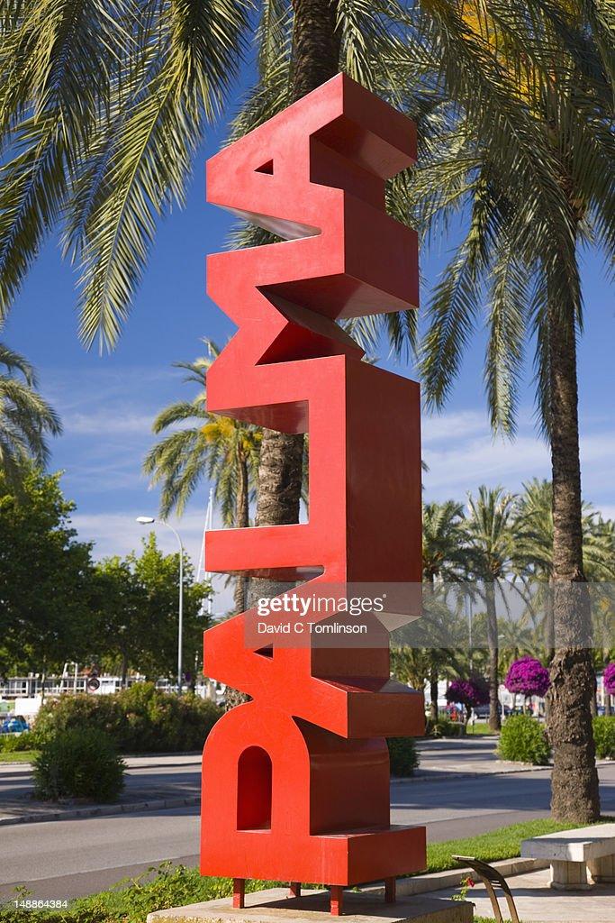 Giant red 'Palma' sign on Passeig de Sagrera. : Stock Photo