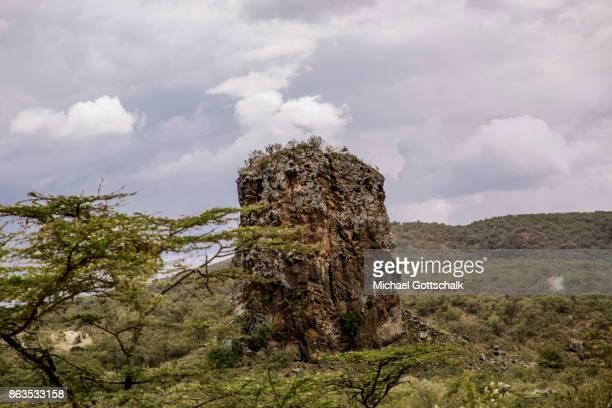 A giant rock at Hell´s Gate National Park on October 08 2017 in Olkaria Kenya