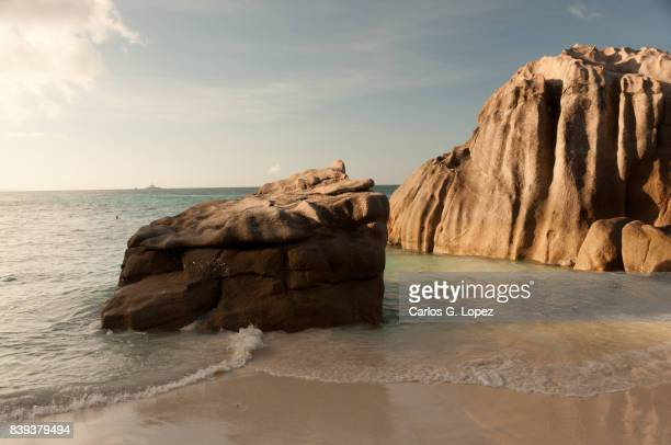 Giant rocks on shallow water