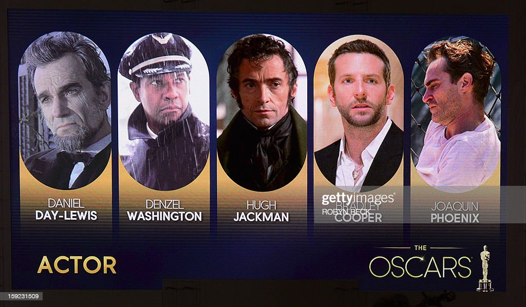 A giant screen shows the Oscar nominees for Best Actor at the Samuel Goldwyn Theartre on January 10, 2013 in Beverly Hills, California. Steven Spielberg is hoping for good news Thursday as Oscar nominees are unveiled, with his 'Lincoln' among frontrunners, albeit in a wide field as Hollywood's awards season enters the home straight. The nominations for the 2013 Academy Awards were held at at the Samuel Goldwyn Theater in Beverly Hills, in California for the famous golden statuettes, to be handed out on February 24.