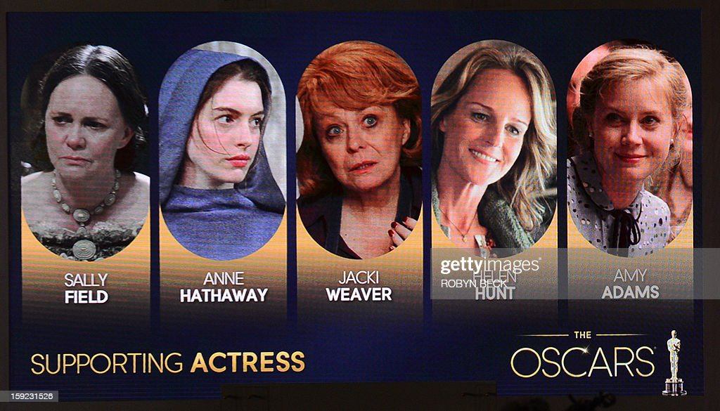 A giant screen shows the Oscar nominees for Best Supporting Actress at the Samuel Goldwyn Theartre on January 10, 2013 in Beverly Hills, California. Steven Spielberg is hoping for good news Thursday as Oscar nominees are unveiled, with his 'Lincoln' among frontrunners, albeit in a wide field as Hollywood's awards season enters the home straight. The nominations for the 2013 Academy Awards were held at at the Samuel Goldwyn Theater in Beverly Hills, in California for the famous golden statuettes, to be handed out on February 24. AFP PHOTO/ROBYN BECK