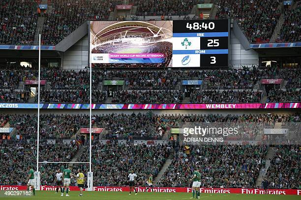 A giant screen shows the score and attendance number during a Pool D match of the 2015 Rugby World Cup between Ireland and Romania at Wembley stadium...