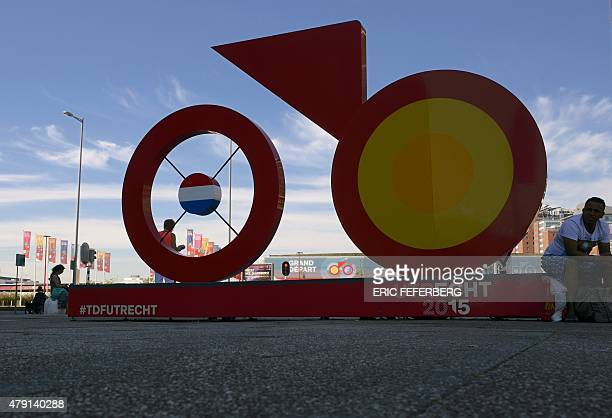 A giant sculpture of bike the logo of 'Utrecht 2015' is pictured in a street of Utrecht The Netherlands on July 1 three days before the start of the...