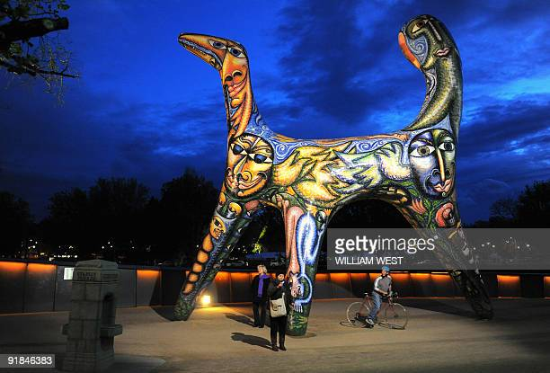 A giant scuplture titled 'Angel' by artist Deborah Helpern attracts patrons at the Melbourne International Arts Festival on October 12 2009 The...