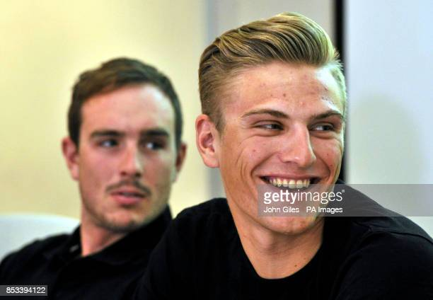 Giant Shimano Cycle Race Team members John Degenkolb and Marcel Kittel during a break from training to speak to the media at Weetwood Hall Hotel Leeds